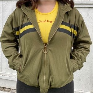 Jackets & Blazers - Army green athletic jacket with yellow stripe